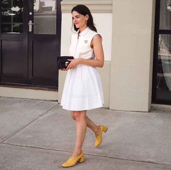 Jennelle Witty of Inspiring Wit wearing EOD by ASHLEY LIM Tara yellow leather pumps