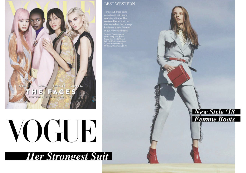 Vogue front cover and Vogue Viewpoint Editorial Her Strongest Suit with red EOD Femme kitten heel ankle boots