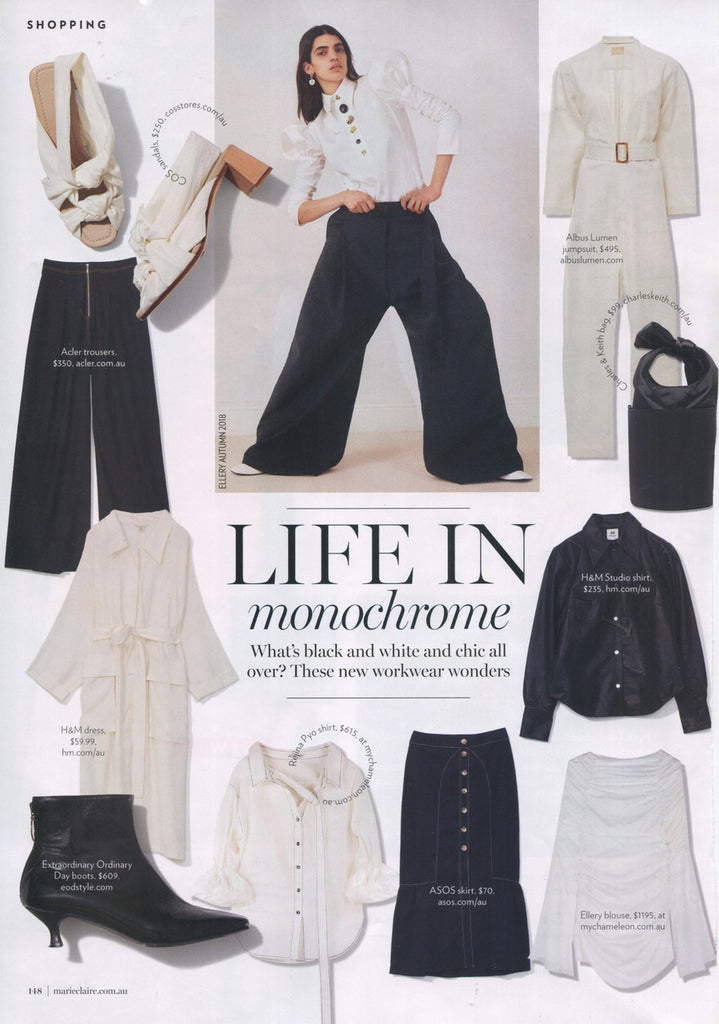 Marie Claire 2018 August issue featuring EOD Femme boots in 'Life in Monochrome'