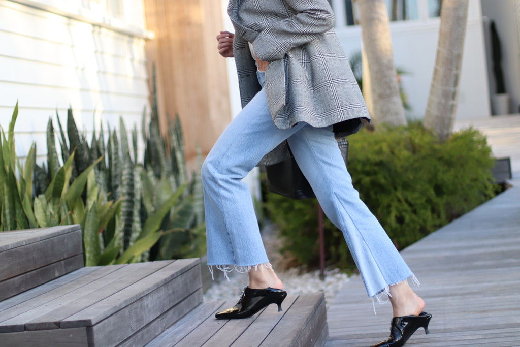 Marilee Pham styles her EOD Elle kitten heel pumps with denims and a casual jacket for the weekend getaway