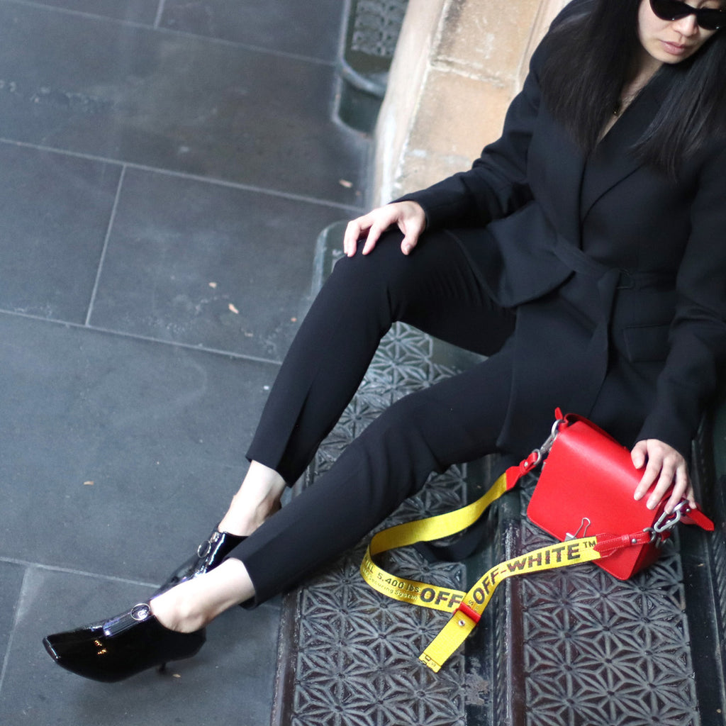 Marilee Pham of A Parallel Closet styles EOD by ASHLEY LIM Elle kitten heel pumps with work wear