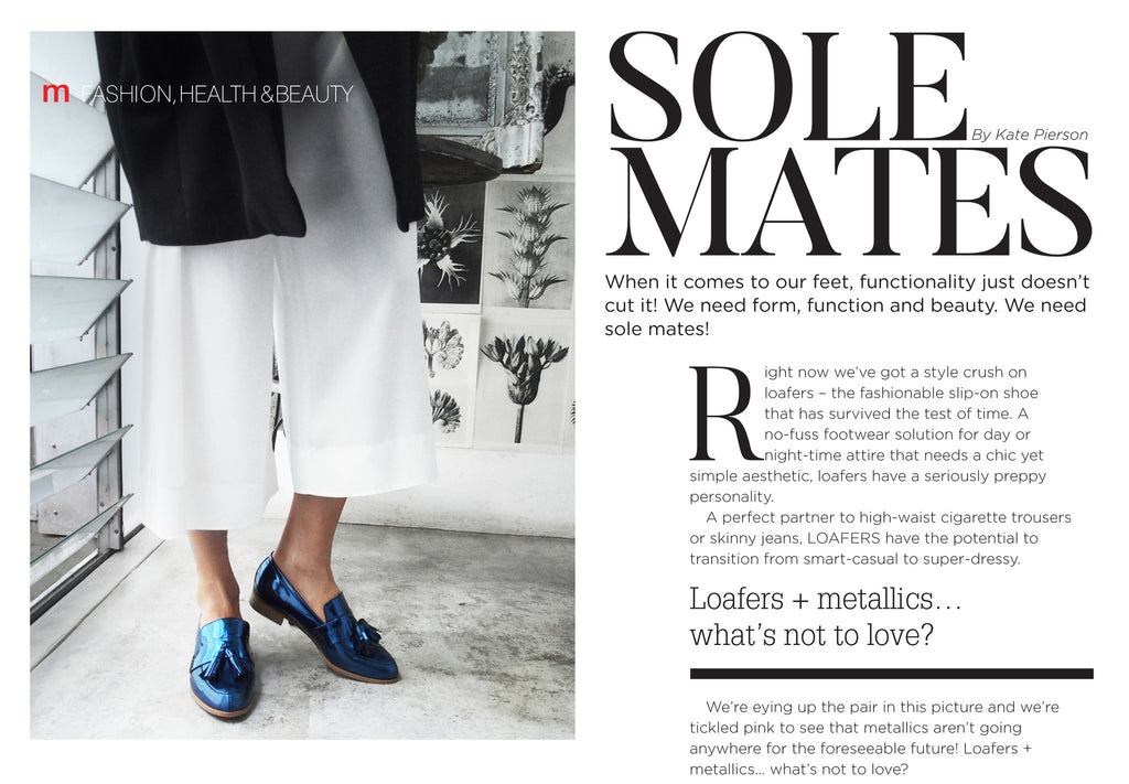 Women's Designer Shoes - Ecstasy metallic cobalt loafers featured in Metropol Magazine