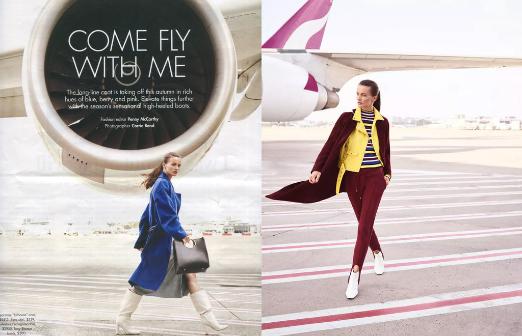 SMH Sunday Life April 2018 - luxury fashion editorial 'Come Fly With Me' features EOD Femme White Crinkle Patent Leather Kitten Heel boots