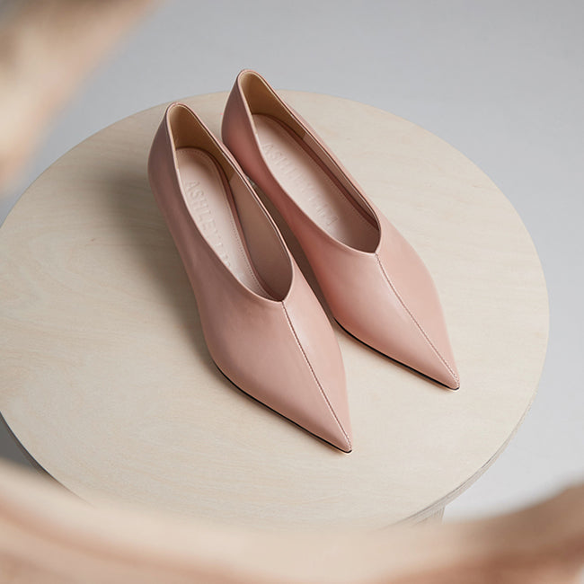 Victoria blush pink leather heels