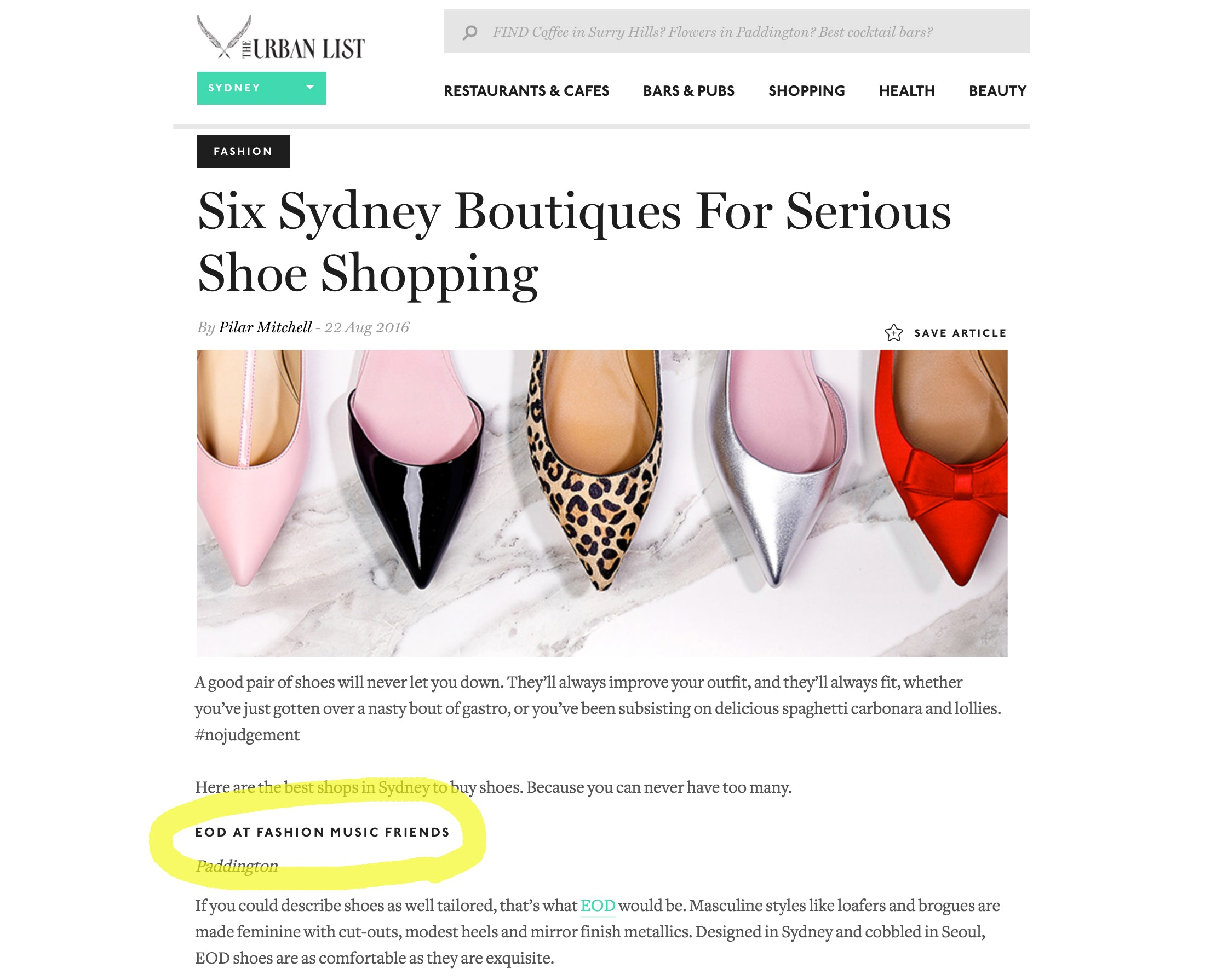 The Urban List - Guide for Shoe Shopping in Sydney - Women's Designer Footwear