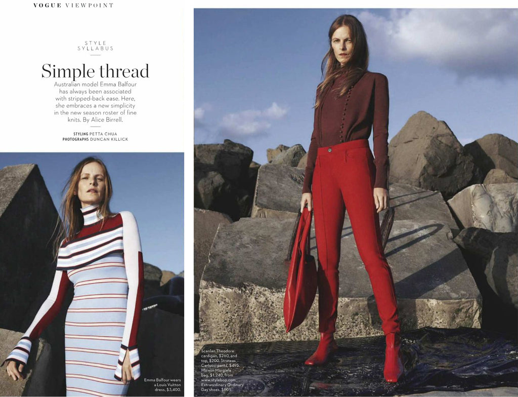 Simple Threads Vogue Viewpoint Interview with Emma Balfour in Vogue Australia May issue 2018 featuring Femme kitten heel ankle boots