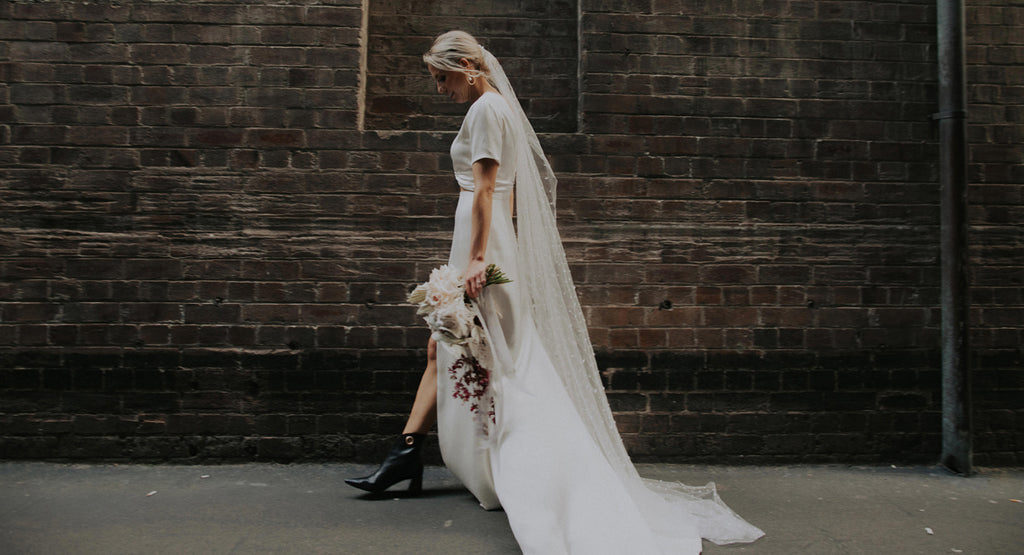 Wedding boots, Lagarde black ankle boots, worn by the bride Zoe Morley in Sydney Australia