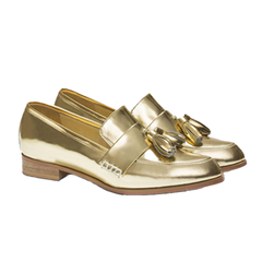 EOD Designer shoes, Ecstasy Leather Loafers, gold leather