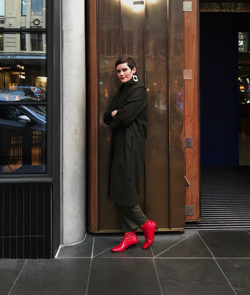 Amy Farrell, The fashion futurist styles EOD by ASHLEY LIM Femme boots in red crinkle patent leather