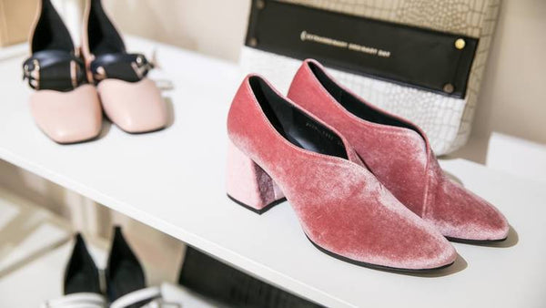 Women's Designer Shoes - Pink Velvet Tara Pumps and Nude Leather Bonnie Flats with Contrast Black Straps