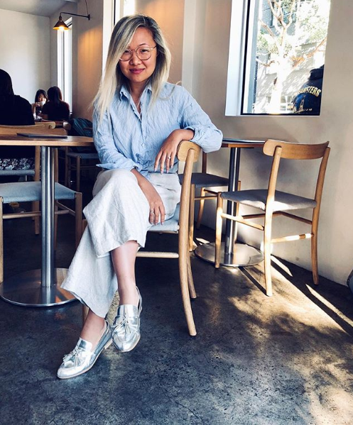 Founder of Lustr Style, Angela Liang wears her EOD by ASHLEY LIM Ecstasy metallic loafers at brunch