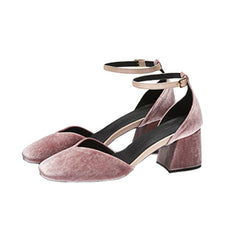 EOD Designer shoes, Scarlett Mary Jane heels, pink velvet