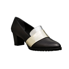 EOD Designer shoes, Sheba Block Heel Pumps, black leather