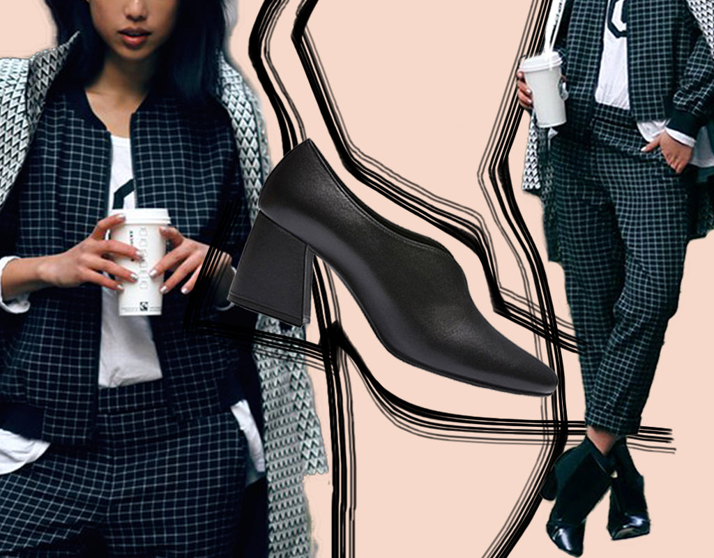 Instagram blogger Margaret Zhang models soft suiting the latest fashion trend which can be styled with leather Tara pumps