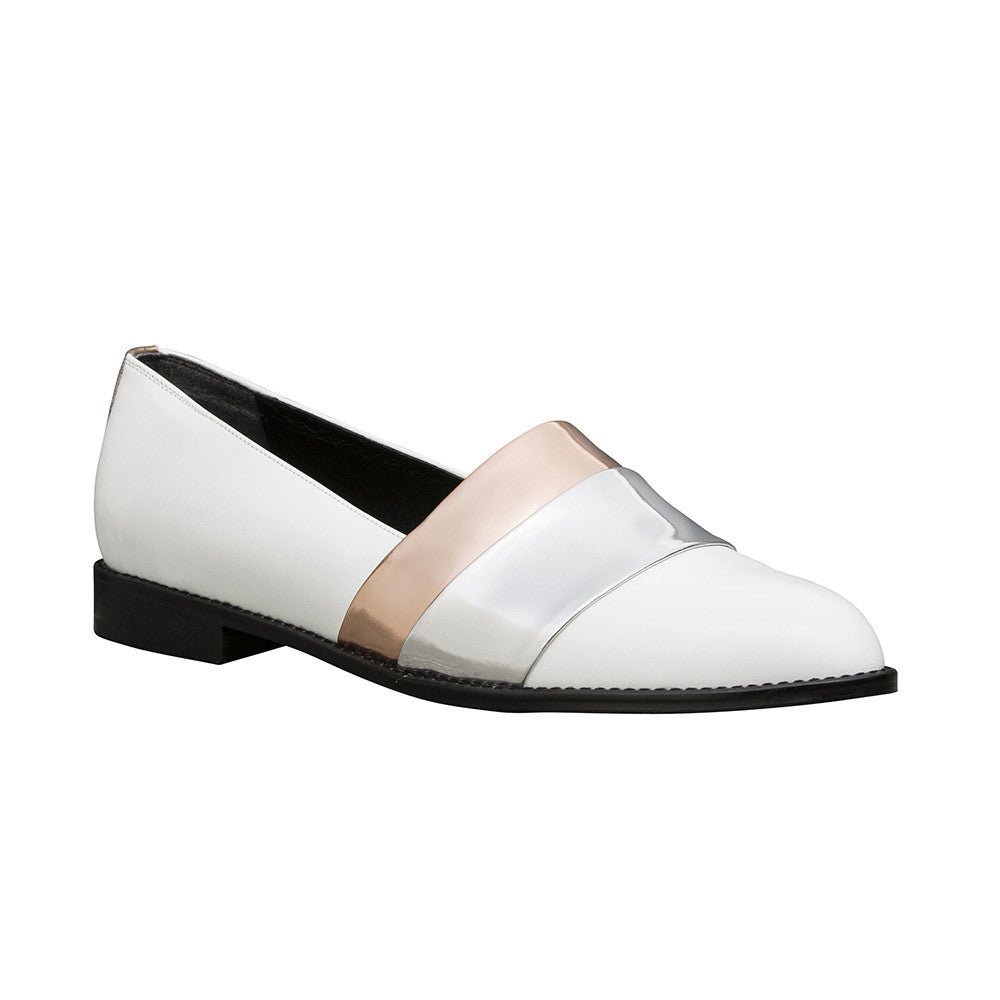 Women's Designer Leather Flat Loafers - Rumi Metallic White Loafers - Angle