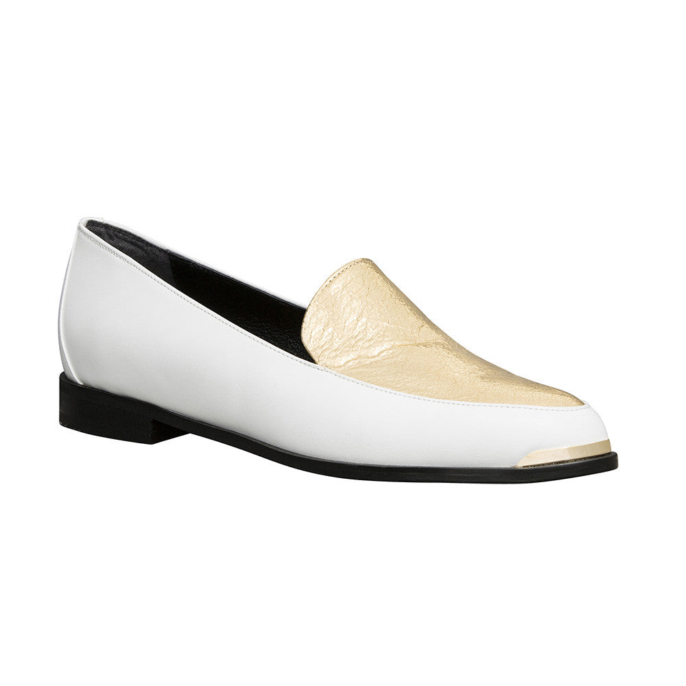 Women's Designer Paneled Leather Loafers -PERSIA Paneled Leather Loafers in White and Gold - Angle