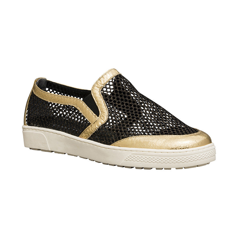 Women's Designer Shoes - Byzantine Mesh Slip On Sneakers with Gold Leather Trim - Angle