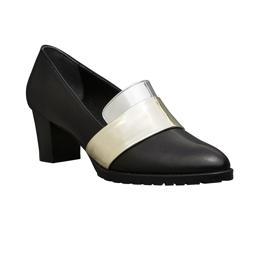 Women's Designer Pump Shoes - Sheba Block Heel Pumps - Black and Metallic Band - Prospective