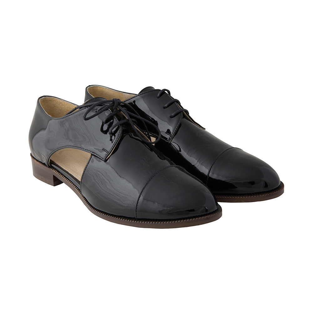 §Women's Designer Brogues - Lovelace Cut Out Brogues Patent Black - Prospective