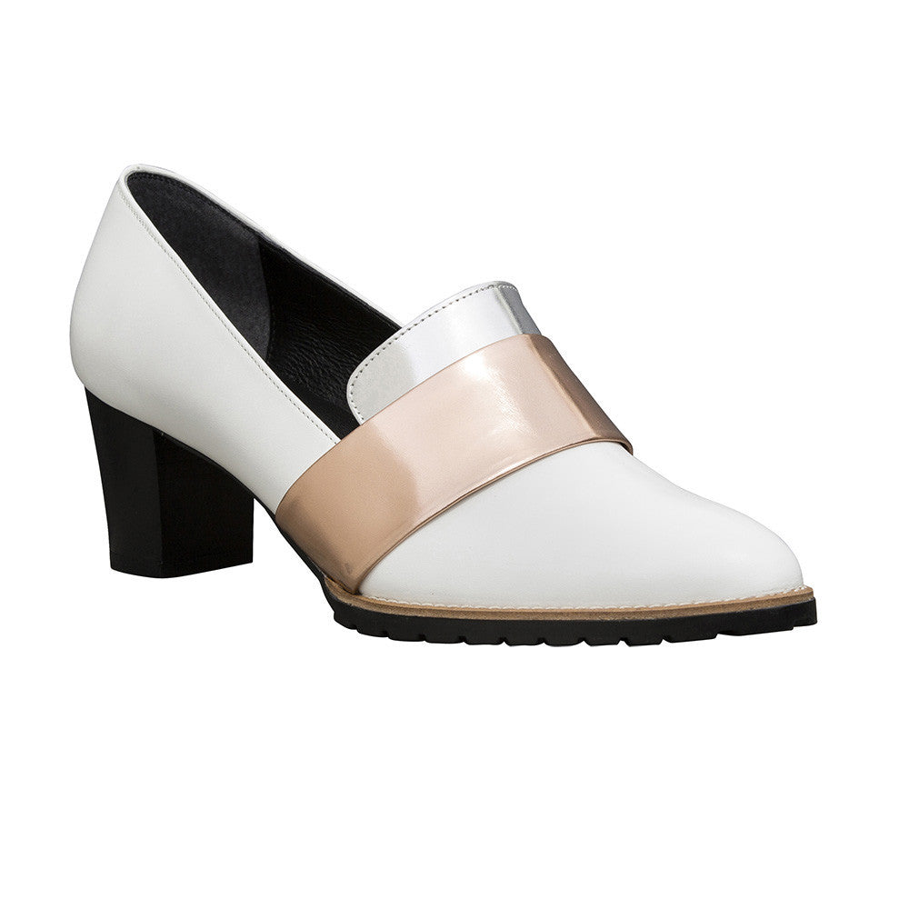 Women's Designer Pump Shoes - Sheba Block Heel Pumps - White with Metallic Band - Prospective