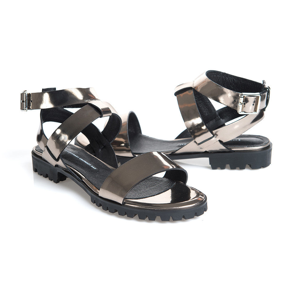 Made to Order | COMET Ankle Strap Flat Sandals - Metallic Platinum - Extraordinary Ordinary Day