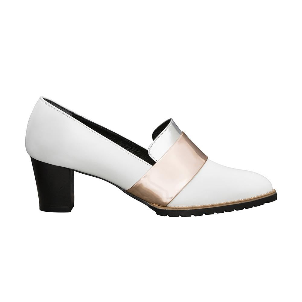 Women's Designer Pump Shoes - Sheba Block Heel Pumps - White and Metallic Band- Side