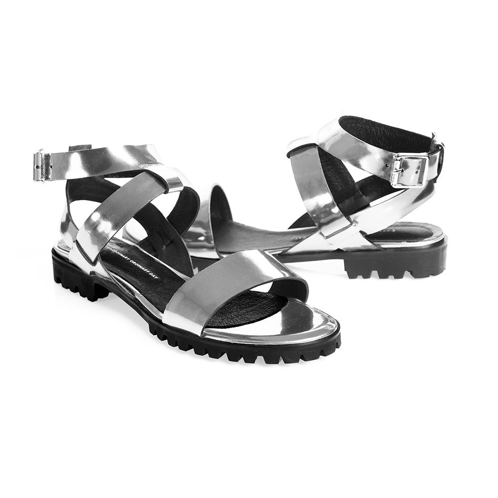Women's Designer Sandals - Comet Metallic Silver Flat Sandals with Ankle Strap - Prospective