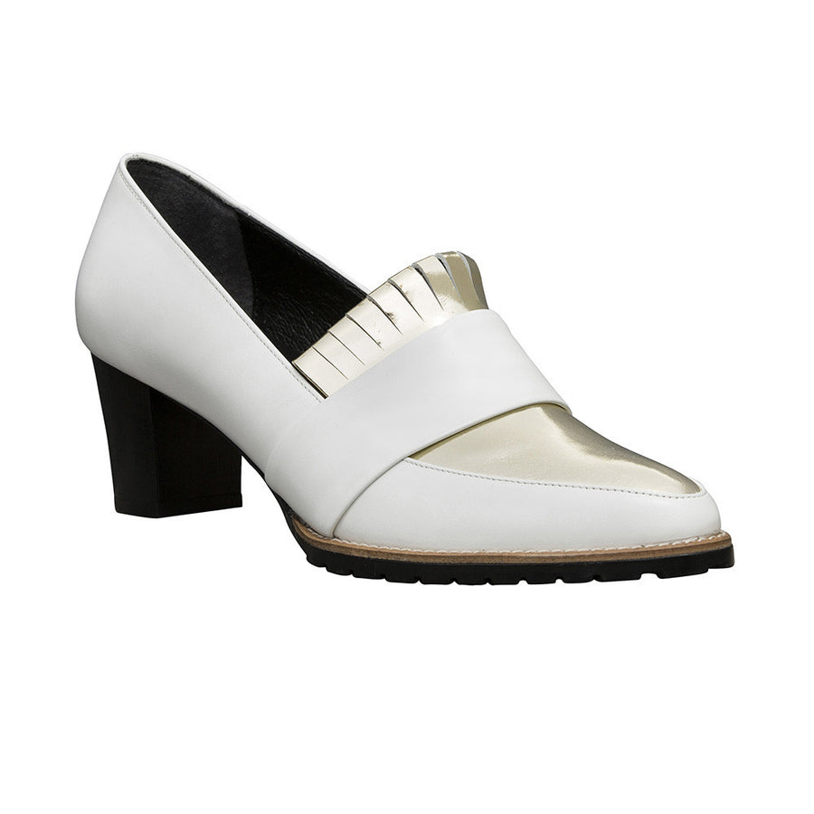 BABYLON Block Heel Fringe Pumps - White and Metallic Gold - Extraordinary Ordinary Day