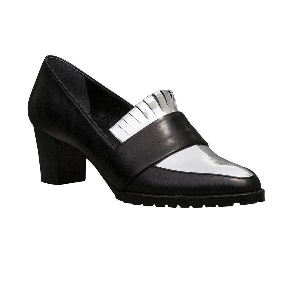 Women's Designer Block Fringe Pumps - Babylon Black and Metallic Leather Pumps - Angle