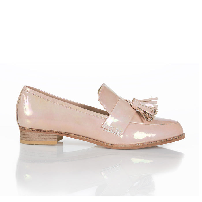 ECSTASY Classic Tassel Leather Loafers - Patent Rainbow Pink