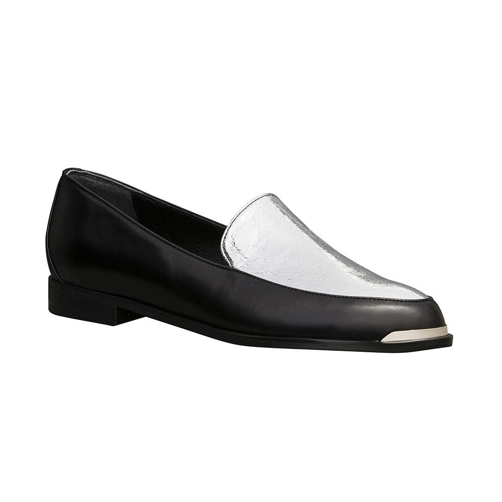 Women's Designer Loafers - Persia Black and Silver Paneled Loafers - Prospective