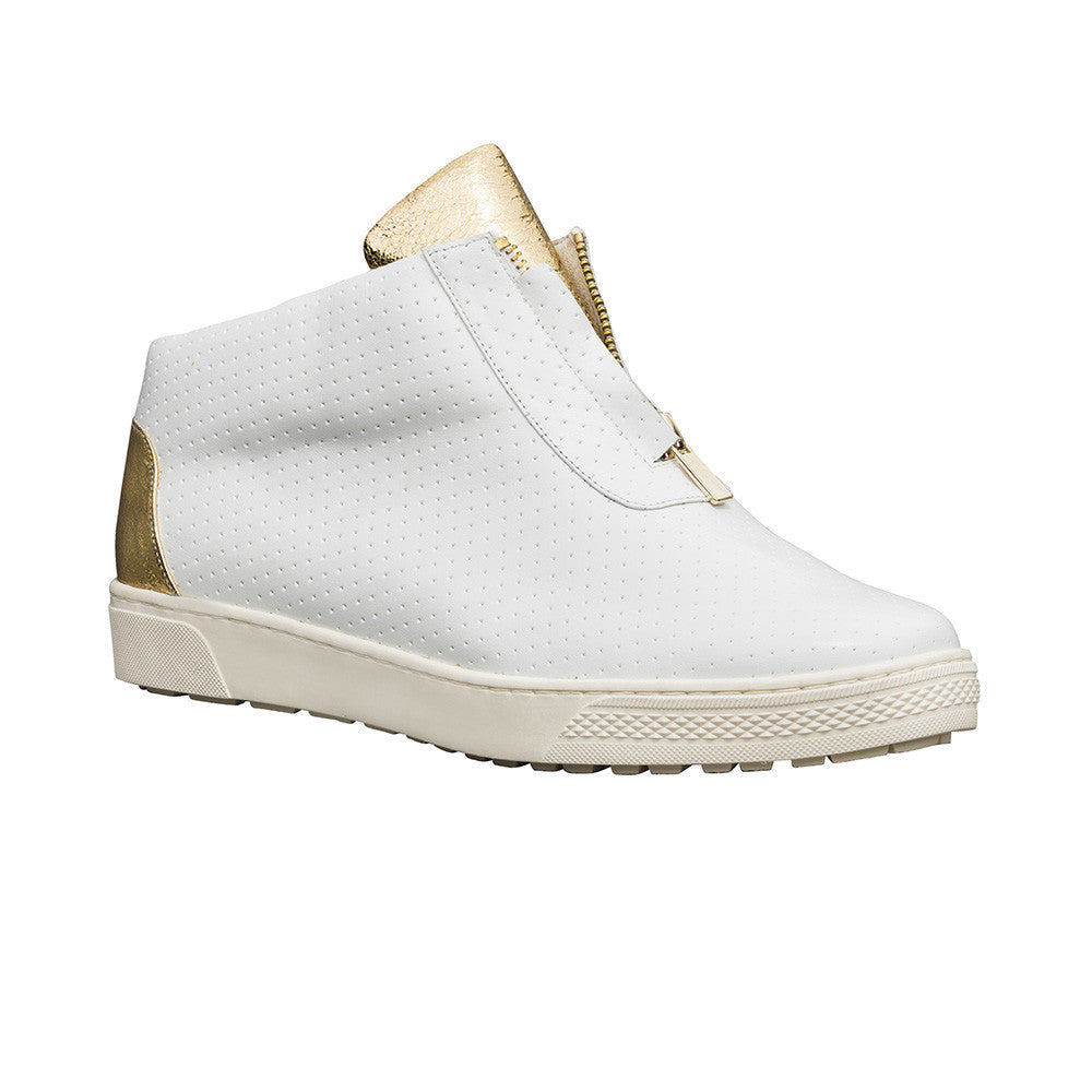 Women's Designer High Top Sneakers - Kush White and Gold Sneakers - Prospective