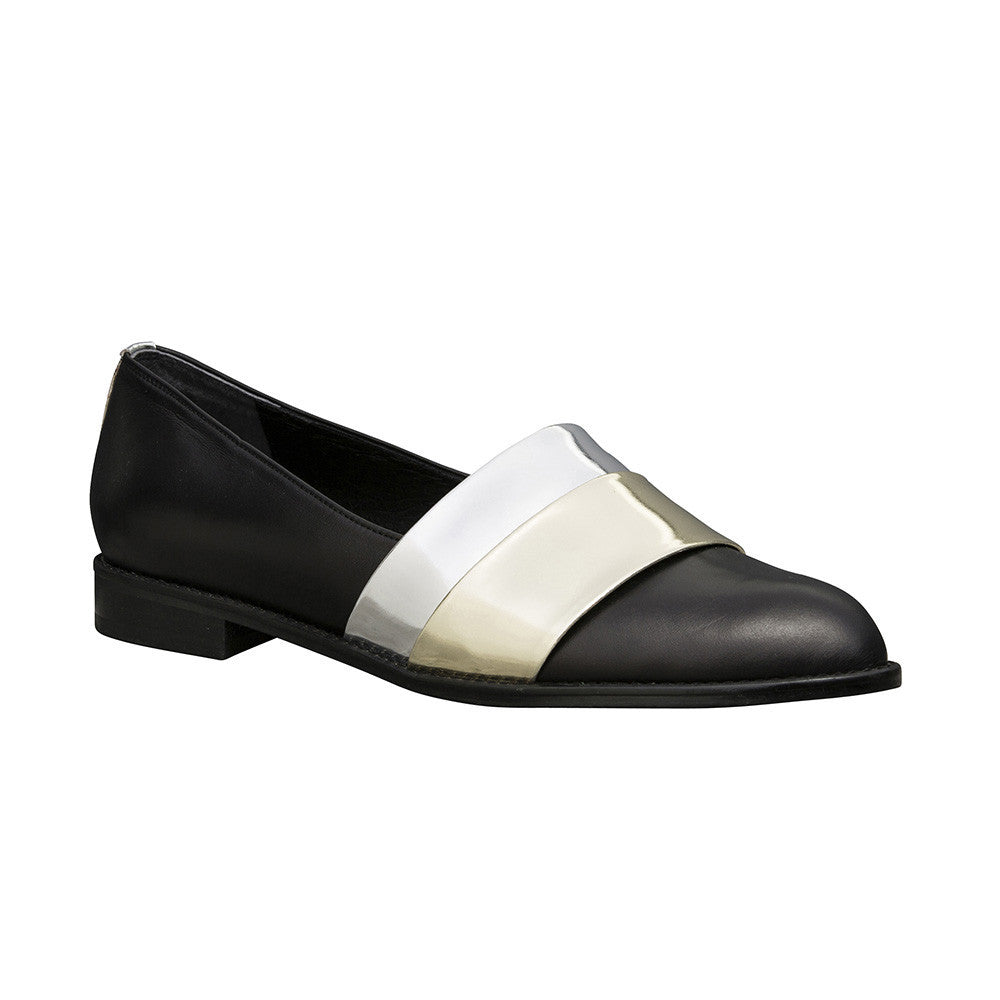 Women's Designer Leather Flat Loafers -Rumi Metallic Black Loafers - Angle