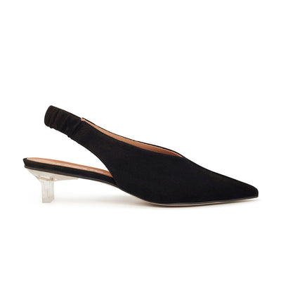 ASHLEY LIM designer shoes for women - Claudette Black Suede Slingback Heels 1