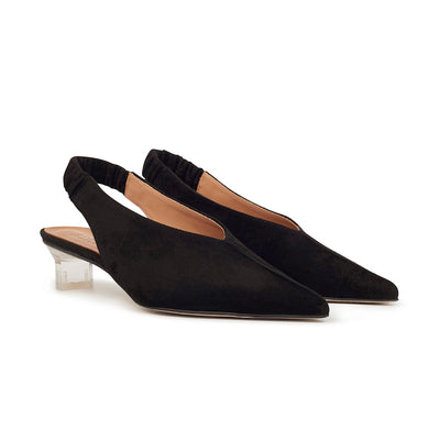 ASHLEY LIM designer shoes for women - Claudette Black Suede Slingback Heels 2