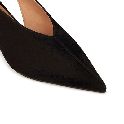 ASHLEY LIM designer shoes for women - Claudette Black Suede Slingback Heels pointed toe box