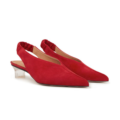 ASHLEY LIM designer shoes for women - Claudette Red Suede Slingback Heels 2