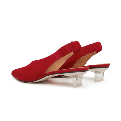 ASHLEY LIM designer shoes for women - Claudette Red Suede Slingback Heels 3