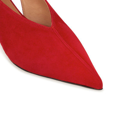 ASHLEY LIM designer shoes for women - Claudette Red Suede Slingback Heels pointed toe box