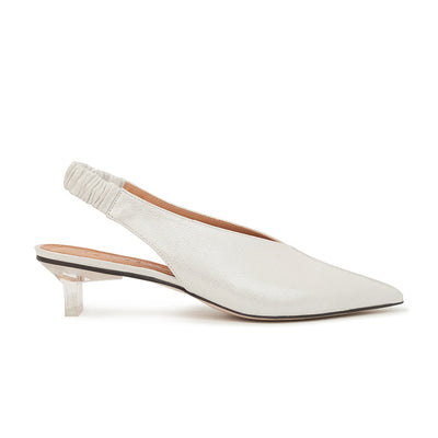 ASHLEY LIM designer shoes for women - Claudette Silver White Leather Slingback Heels 1
