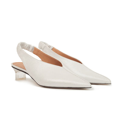 ASHLEY LIM designer shoes for women - Claudette Silver White Leather Slingback Heels 2