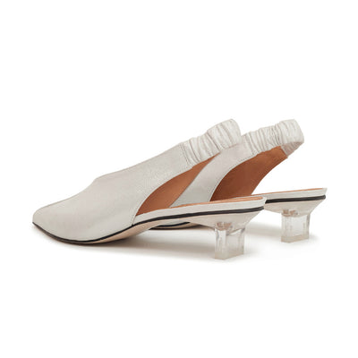 ASHLEY LIM designer shoes for women - Claudette Silver White Leather Slingback Heels 3