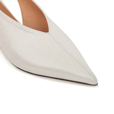 ASHLEY LIM designer shoes for women - Claudette Silver White Leather Slingback Heels pointed toe box