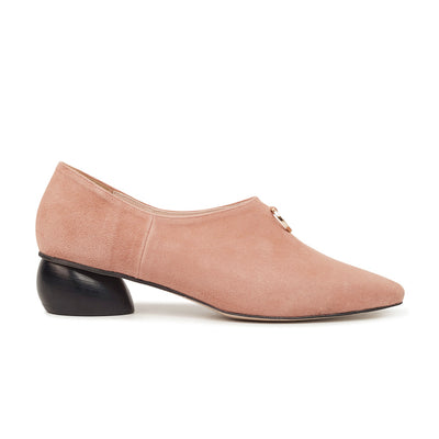 ASHLEY LIM designer shoes for women - Jacinda Blush Pink Suede Loafers 1
