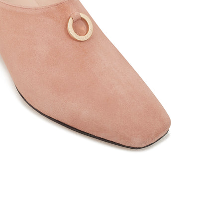 ASHLEY LIM designer shoes for women - Jacinda Blush Pink Suede Loafers square toe box