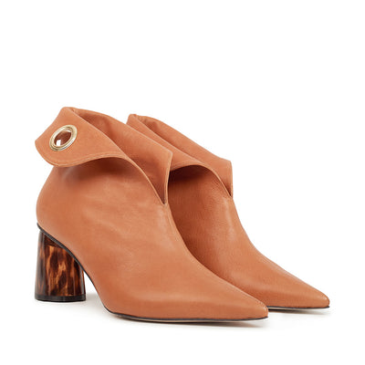 ASHLEY LIM designer boots for women - LAGARDE Vegetable Tanned Leather Ankle Boots 2 folded down