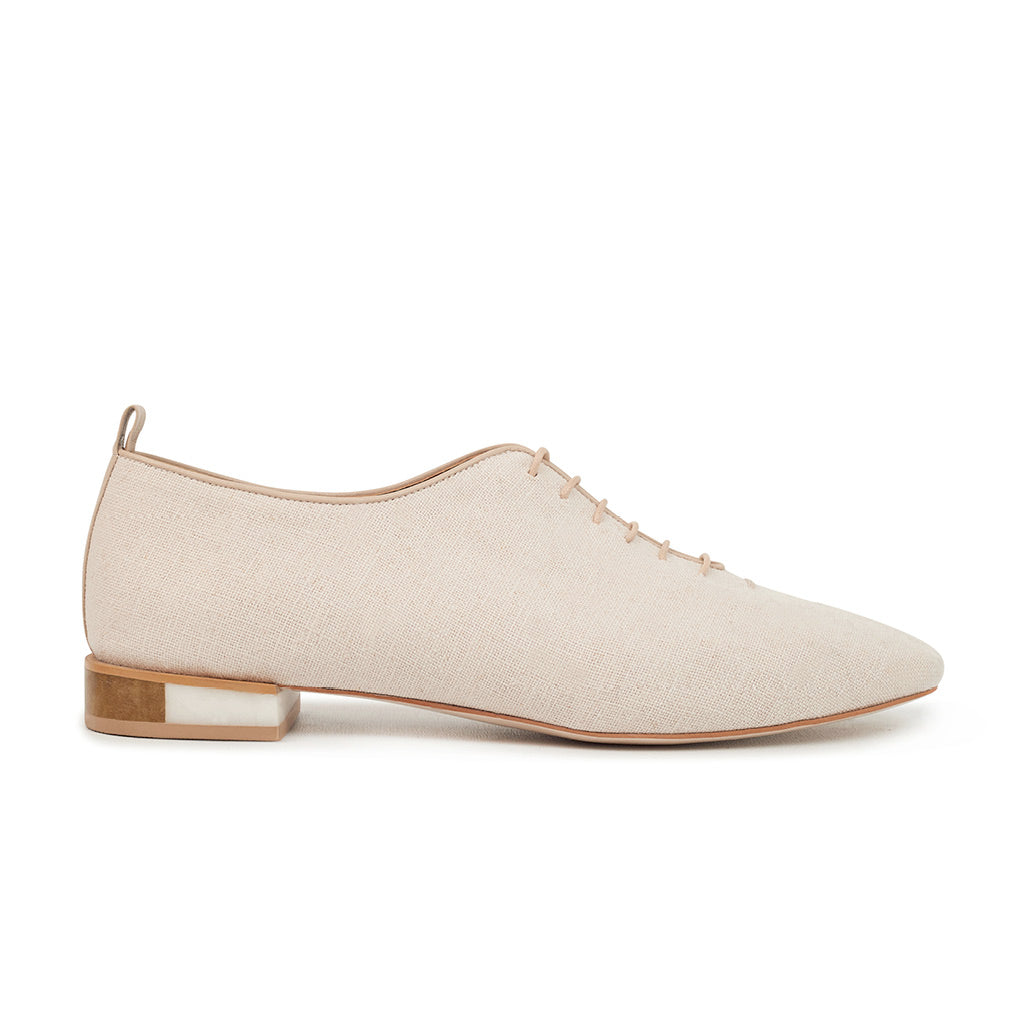 MARIE Leather Lace-up Flats - Linen