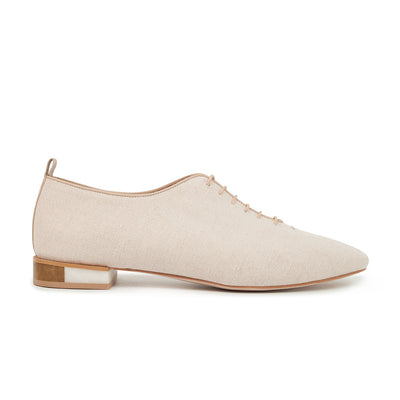 ASHLEY LIM designer shoes for women - MARIE Linen Lace-up Flats 1