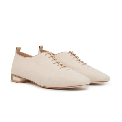 ASHLEY LIM designer shoes for women - MARIE Linen Lace-up Flats 2