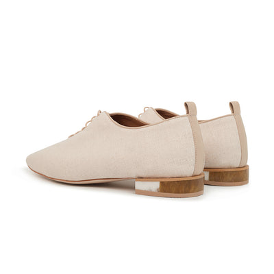 ASHLEY LIM designer shoes for women - MARIE Linen Lace-up Flats 3